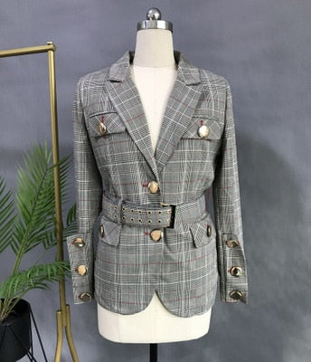 Haute Couture England Style Women's 2020 Spring Autumn New Single Breasted Plaid Sashes Slim Blazer Short Top Female Cloth