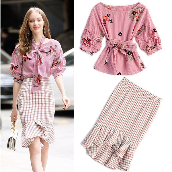High Quality 2020 Designer Suit Set Women's Puff Sleeve Embroidery Strip BlouseTops + Plaid Mermaid Skirt Suit With Sashes NS444