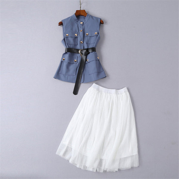High Quality New Fashion 2020 Runway Designer Set Women's Sleeveless Vest Tops with Belt and Gauze Skirt Suit Two Piece Outfits