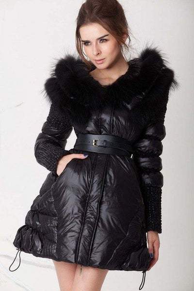 High-end quality women's duck down coat with real natural mink fur collar hood black parka jacket for lady female plus size xxl