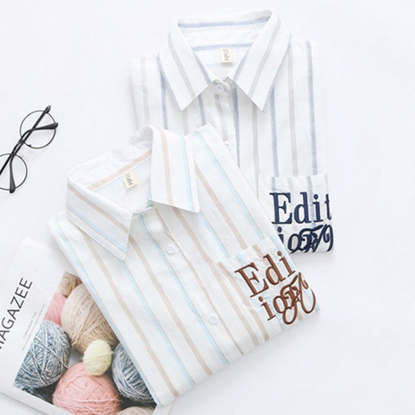 Hit Color Striped Blouse for Women Summer Autumn Long Sleeve Pocket Embroidery Letter Turn Down Collar Shirts White Tops 2018