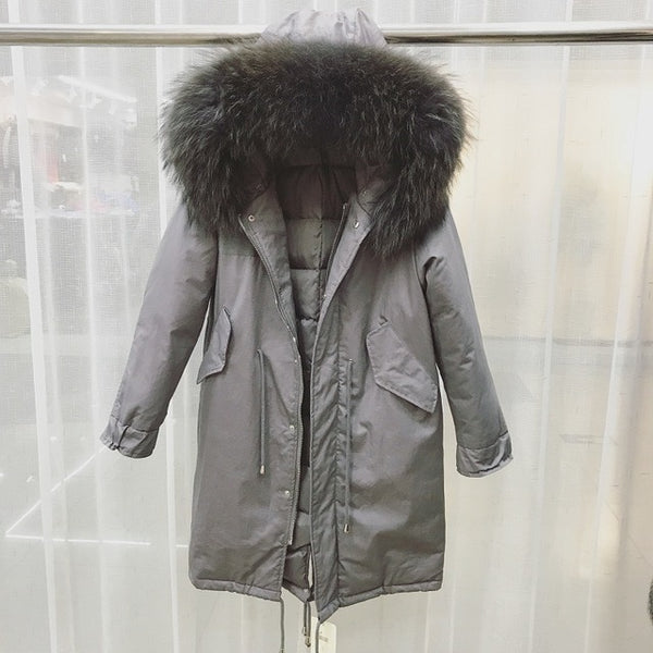 Huge Real Natural Raccoon Fur 2018 Winter Jacket Women Thick Warm Long Female Plus Size Coat White Duck Down Jacket Loose Parka