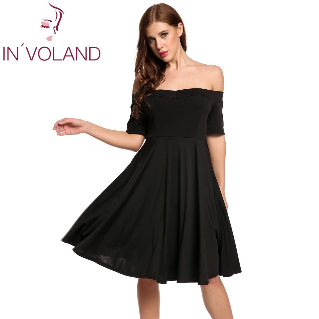 IN\'VOLAND Women Vintage Retro Dress Big Size Secy Off Shoulder Short Sleeve  Vestidos Solid Party Swing Party Dresses Plus Size