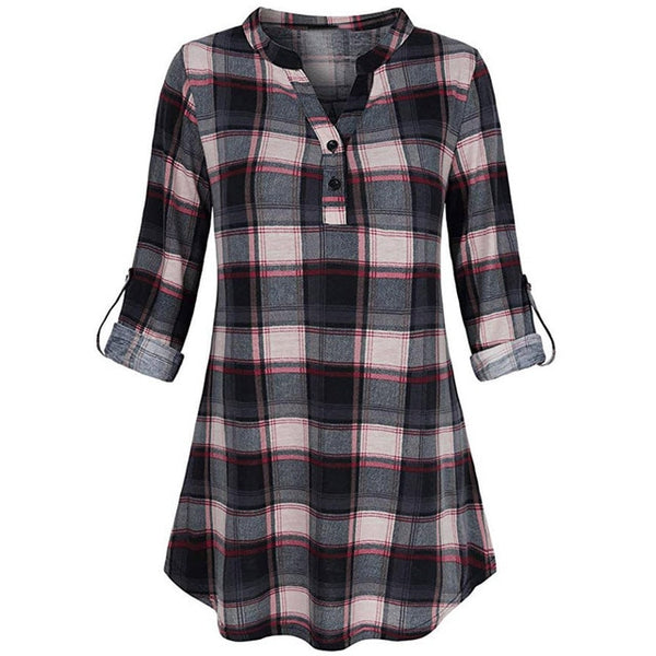 Women Shirts 2020 Women Blouse V Neck Long Sleve button Plaid Tunic Blouses Tops Camisa Feminina Ladies Blouses Haut