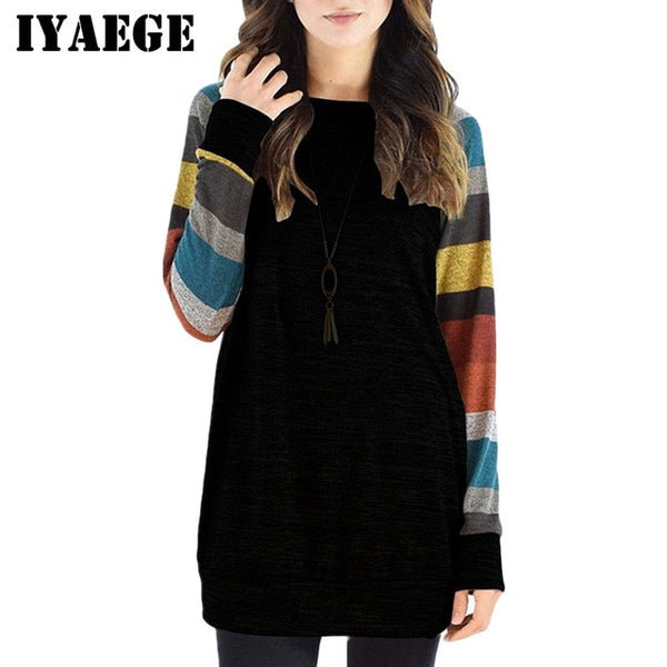 New Fashion Womens Tops And Blouses Casual Long Sleeve Striped Patchwork Tee Shirt Loose Baseball Shirt Tunic Tops Blusas