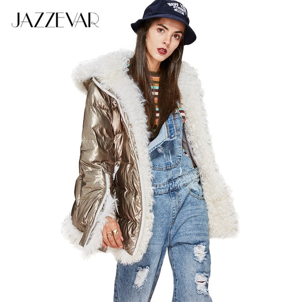New Winter High Fashion Trendy women's futuristic designs Edgy silver down Jacket luxurious lamb fur hooded coat parka