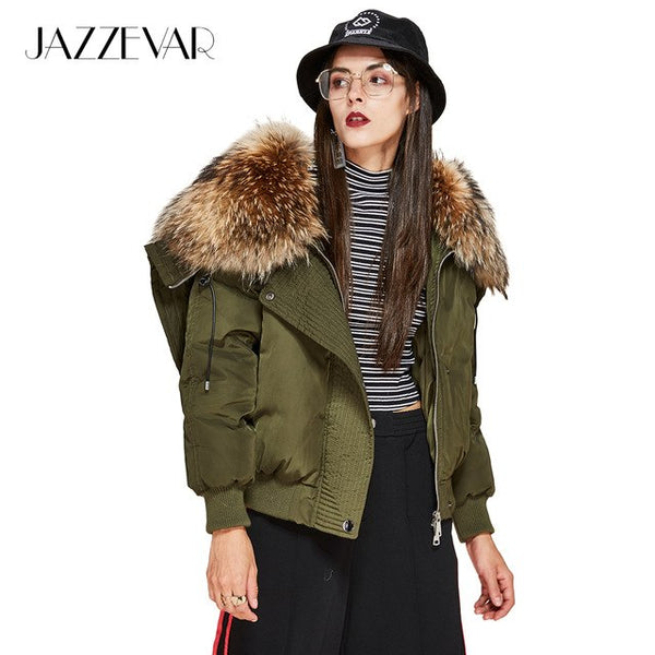 New Winter High Fashion street Trendy women's luxurious down coat large raccoon fur hooded parka bomber jacket