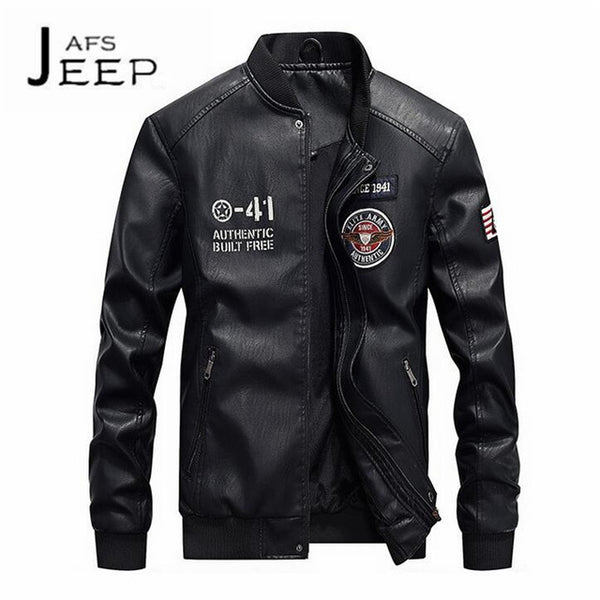 JI PU Fashion Clothe O-neck Man's Leather Bomber,Original Brand Autumn Man's Motorcycle Zipper Fly Cargo Jackets PU Leather