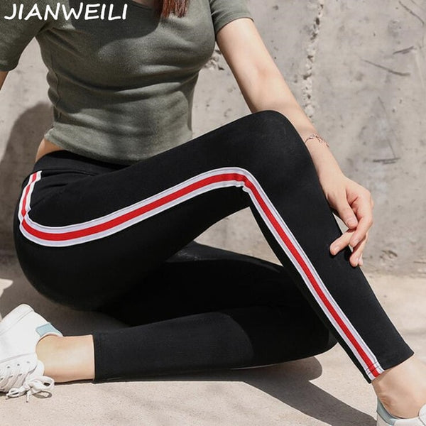 Leggings Women Pants Autumn Legging Height Waist Casual Striped Gothic Fitness Leggings Sporting Pants Women Trousers