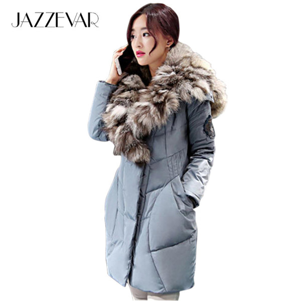 Jazzevar 2017 New Fashion Women's Winter Warm Down Coat Parkas 80% white duck with luxurious large real fox fur Down Jackets