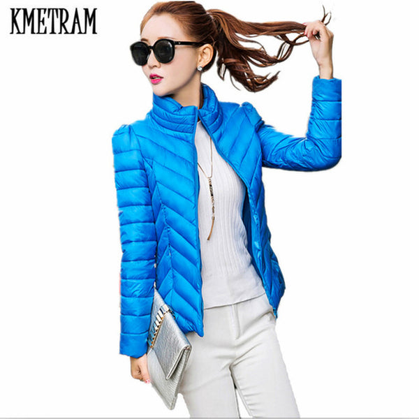 2020 Winter Jacket Women Padded Warm Coat Ultra Light Down Cotton Jacket Female Overcoat Slim Parka Chaqueta Mujer HH325