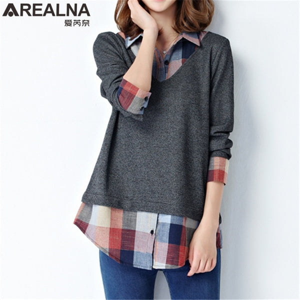 Kimono Casual Women's Tops and Blouses Fake Two Pieces Plaid Patchwork Shirts Tunic Long Sleeve Female Plus Size Woman Clothes