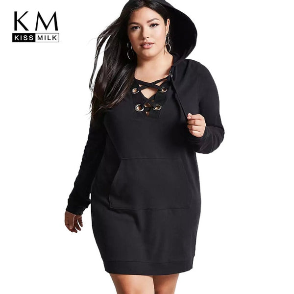 Kissmilk Plus Size Hollow Out Women Sweatshirt Dress Straight Solid Lace Up Hoodied Large Size Female Clothing Big Size Lady