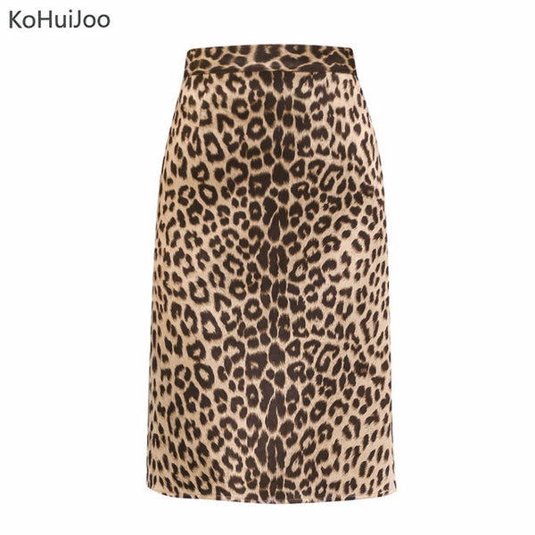 2018 Fall Leopard Skirt Women High Waist Printing Faux Suede Pencil Skirt Ladies Sexy Club Suede Skirts Saia Midi