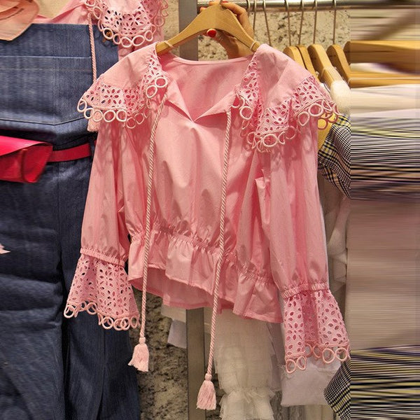 Korean Autumn Hollow Out Ruffles Women Lace Up Shirts 2020 New All Match Female Casual Tops Vogue Femme Long Sleeve Pink Blouse