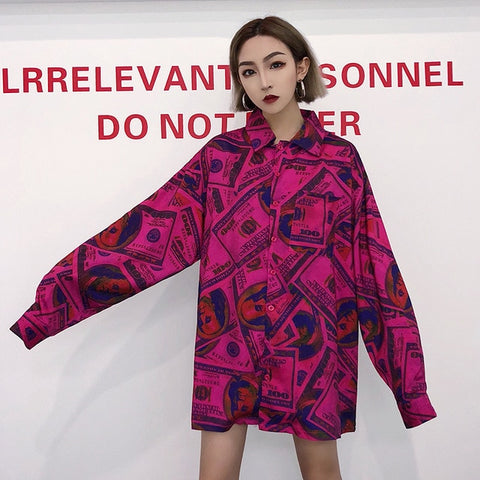 [SOLD OUT] Korean Hiphop Money Print Turndown Collar Button Long Sleeve Oversized Loose Blouse Summer Sun Shirt Streetwear Robe Plus Jumper