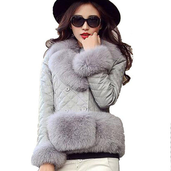 Korean New Autumn Winter 2016 Women Black Gray Coat Fox Fur Coat Splicing Fashion Brief Paragraph Leather Fur Coat S-3XL G265