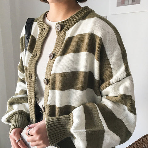 dc0ed26a4a0ff Korean Vintage Single Button Block Camouflage Stripe Casual Cardigan Sweater  Knitwear Chaqueta Autumn Women Loose Jumper