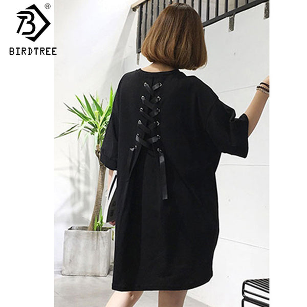 Korean Women O Neck Half Sleeves Solid Color Loose Midi Dress Back Bow Tied Autumn Plus Size 5XL Pregnance Dress D7N542A