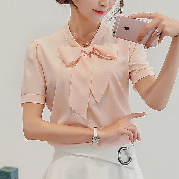 Korean style Women Short Sleeve Blouse Temperament Female Chiffon bow-knot Solid Colours Ladies White Shirts Plus Size Clothing
