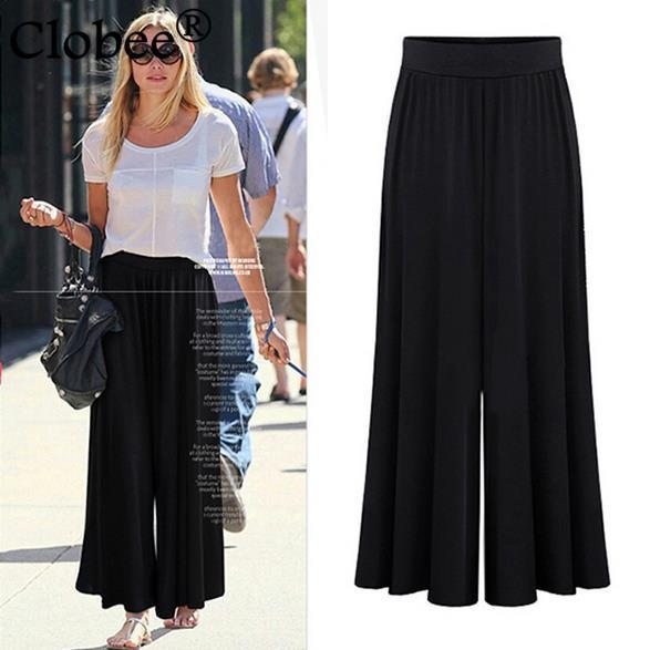 L-5XL 2020 Cloth Summer Clothing Casual Women Modal black gray Ankle-length Wide Leg Pants Loose Slim High Waist Trousers WQ433