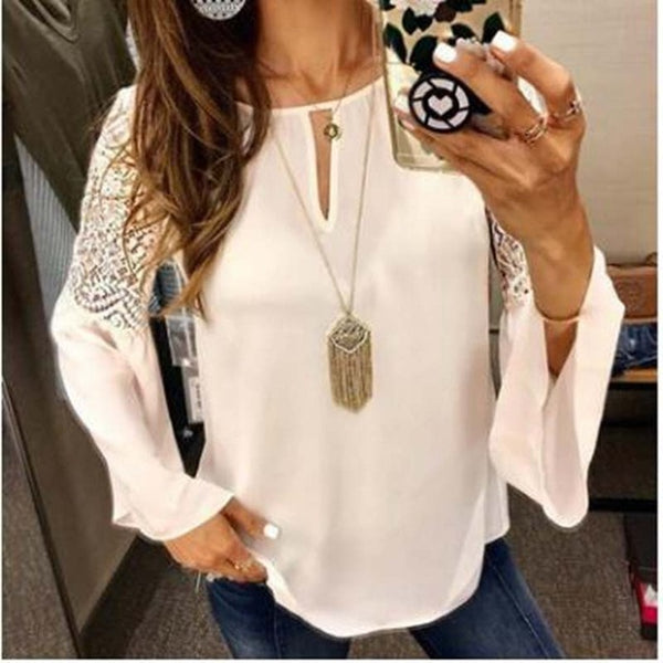 2020 New Fashion Women Blouse Casual Solid Flare Sleeve Lace Patchwork Chiffon Shirt Lace Crochet Top Tunic Blusa Mujer