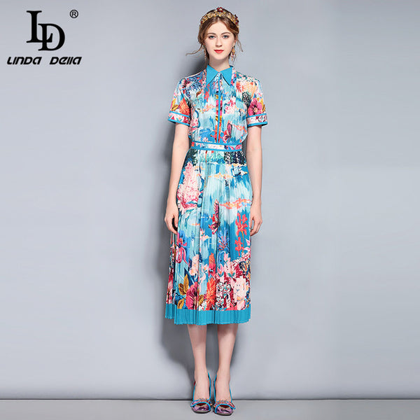 New 2020 Fashion Designer Runway Suit Sets Women's Short Sleeve Blouse and Vintage Floral Printed Midi Skirts Set