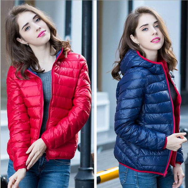 LEFT ROM 2020 Winter Two Side Women 90% White Duck Down Jacket Women's Hooded Ultra Light Down Jackets Warm Winter Coat Parkas
