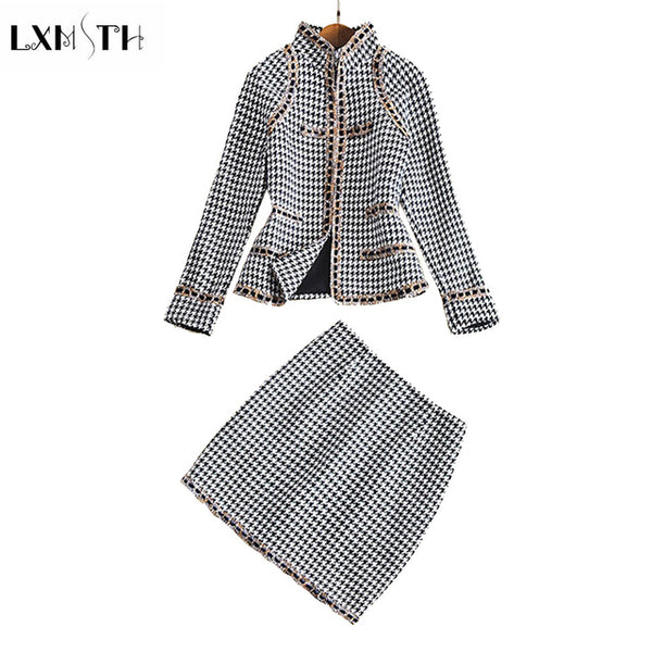 2020 Tweed Set Women Fashion Two Pieces Set Women's Plaid Tweed Short Jacket Skirt Set Winter Designer Runway Suit Set
