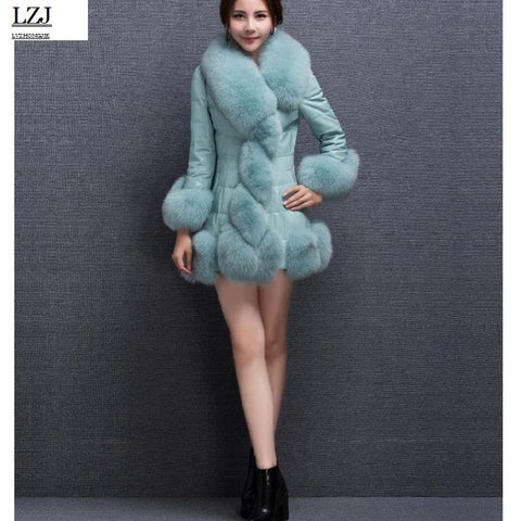 90d790fa5bf 2017 winter new women s fox fur coat bomber jacket jacket female coat warm  PU fur jacket