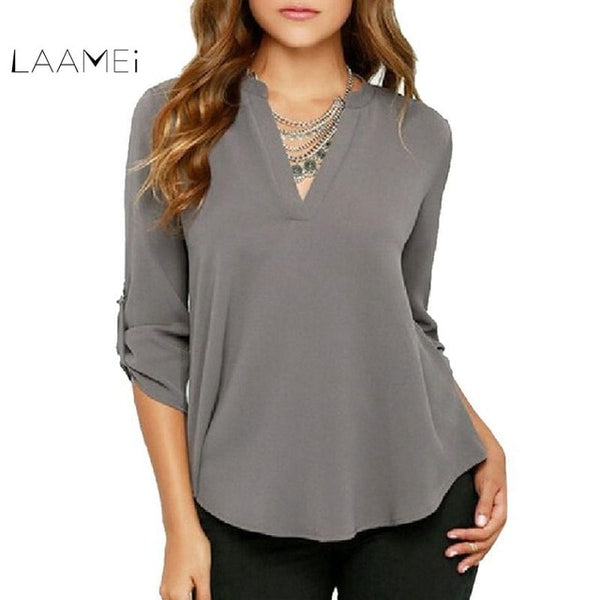 2018 Fashion Brand Blouse Shirt V Neck Sexy Plus Size Clothe Chiffon Blusas Feminina Clothing Summer Women Top Pullover