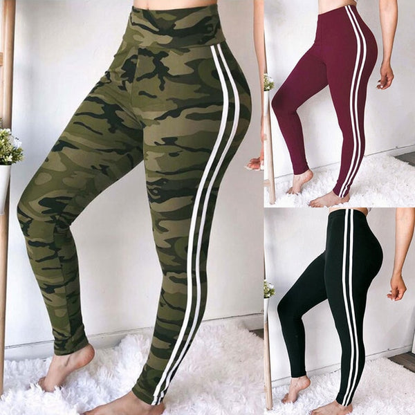 Camouflage Print Women Leggings Slim High Waist Elasticity Leggings Pants Breathable Striped Sweatpants Sexy push up hip
