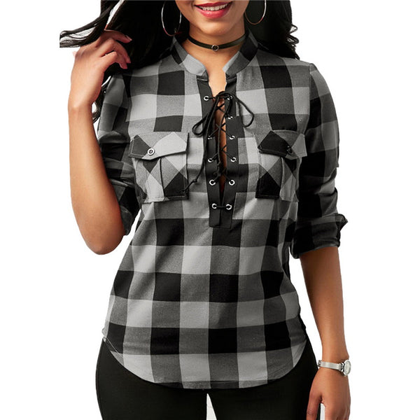 Women Plaid Shirts Spring Long Sleeve Blouses Shirt Office Lady Cotton Lace up Shirt Tunic Casual Tops 2020 Plus Size 5XL