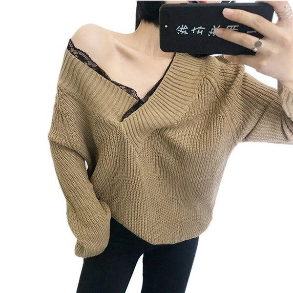 4774a551bb20 Lace Patchwork Sexy Big V Neck Sweater Women Autumn Winter Korean Fashion  Oversized Sweater Knitting Pullovers