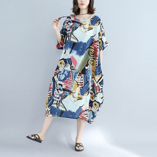 Lagenlook Cotton & Linen Jumper Graffiti Straight Dress Summer Plus Size  voguees dresses Short Sleeve Big Size Long Dress