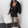 Rhinestone Party Dress Black Mesh See Through Long Sleeve V Neck Bodycon Sexy Dress Fashion Diamonds Night Club Dresses