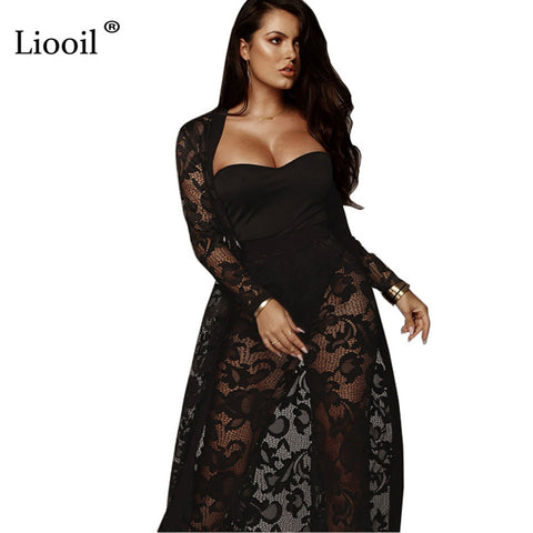 152e2e7c6ba Sexy Black White 3 Piece Lace See Through Jumpsuits Strapless Hollow Out  Plus Size Party Rompers