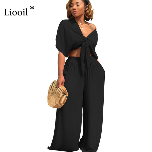 75e2d67cf126 Sexy Two Piece Lace Up Rompers Womens Jumpsuit Wide Leg V Neck Short Sleeve  Black Blue. Home   Plus Size