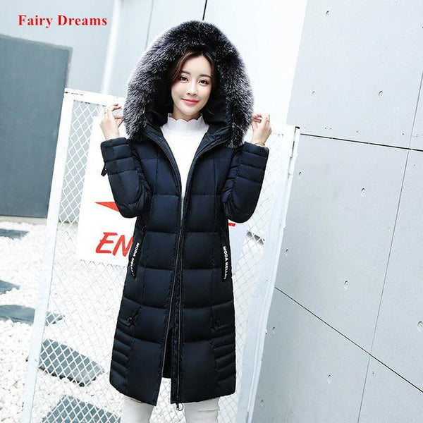 Long Parka Women Plus Size Clothing Black Red Green Made Of Goose Feather Winter Coat Faux Fur Hooded Thicken Warm Jacket 2020