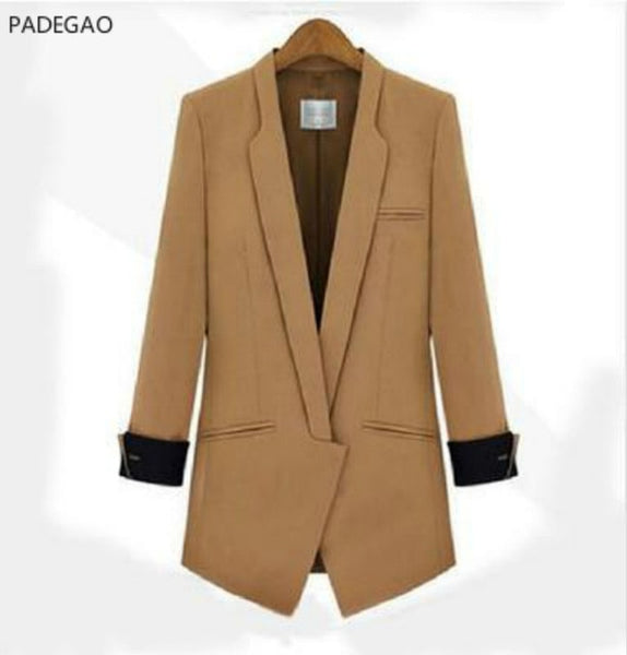 Long sleeve women's Long blazer suit jacket for office black Camel Elegant Blazer coat Ladies Long Sleeve Slim blaser