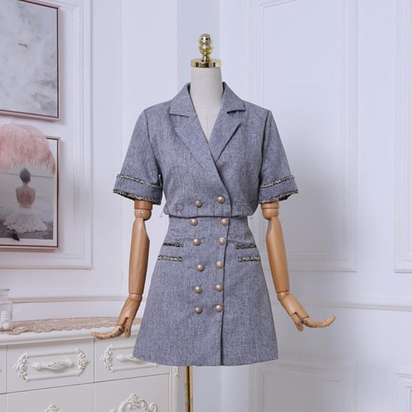 Luxury Quality 2020 Summer Women Short Sleeve Turn-down Collar Shirt + Double Breasted Design Skirt 2pcs sets Casual Suits A206
