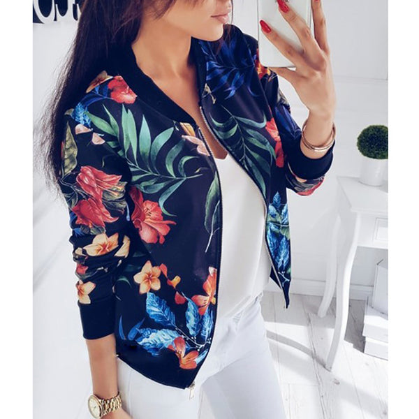 M-5XL Retro Floral Print Coat Women Zipper Up Bomber Jacket Plus Size Long Sleeve Coats Tops Autumn Female Outwear 2020 Clothes