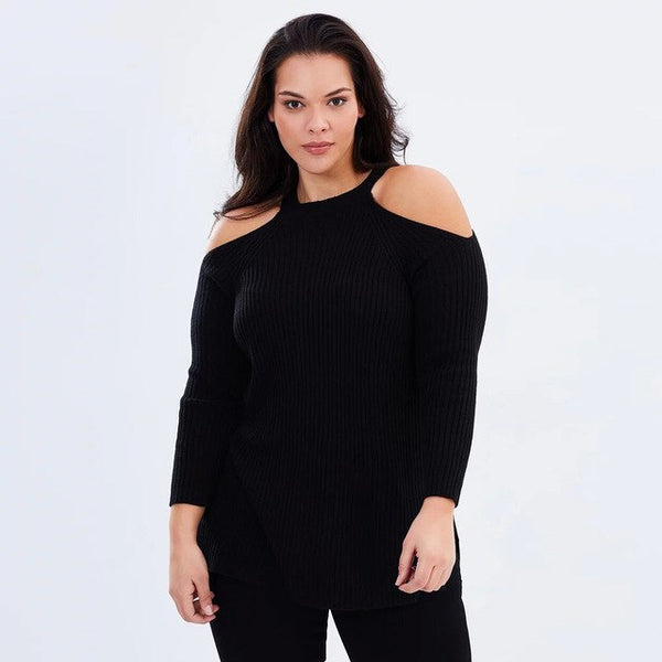 1f689c08b6088 MCO Winter Knitted Sexy Cold Shoulder Plus Size Halter Sweater Casual Black  Big Women Sweaters Basic