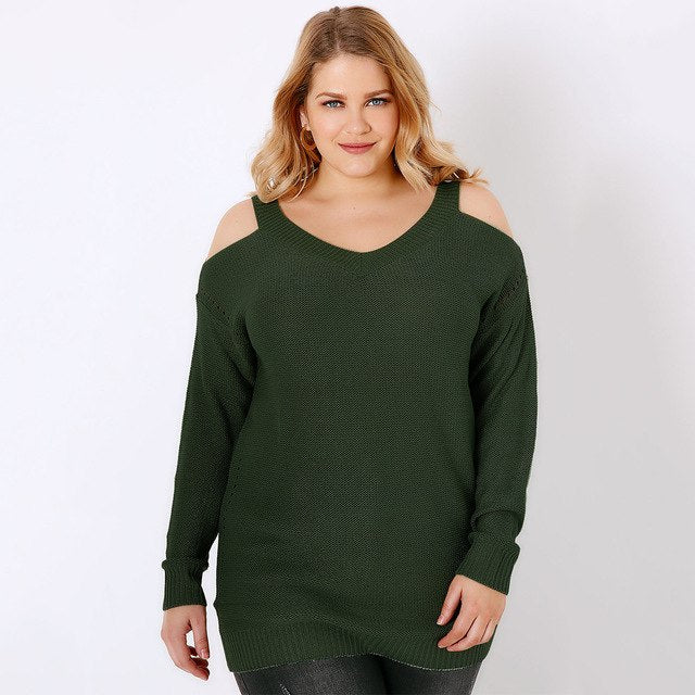 94a9fb0c778d81 ... MCO Winter Sexy Cold Shoulder Plus Size Women Jumper Casual Oversized  Pullover Long Knitted Sweater Big ...