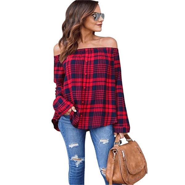 Red And Black Plaid Strapless Shirt Long Sleeve Slim Single-Breasted Shirts Striped Tops Off Shoulder Sexy Blouses