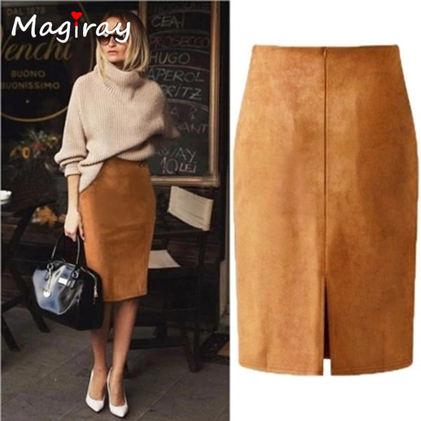 Harajuku Sexy High Waist Suede Midi Skirt Women 2020 Autumn Winter Split Red Black Pink Female Leather Pencil Skirt C333