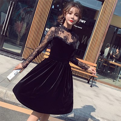 vintage lace stitching long sleeve velvet a-line dress womens autumn office sexy knee length elegant party dress