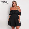 Minody Big Size Off Shoulder Women Dress 2020 Spring Summer Fashion Black Green Solid Ruffles Knee-Length Dresses BEFX170127
