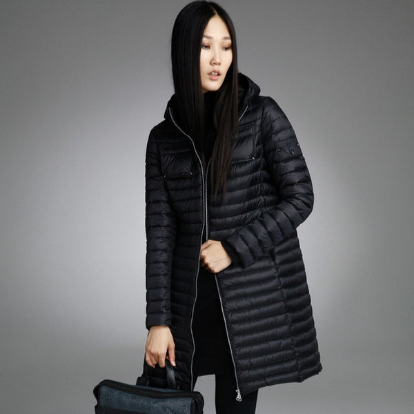 Misun2020 spring  autumn and winter medium-long Light and thin down coat female fashion with a hood women's jackets for girl