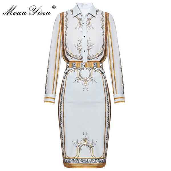 Fashion Designer Runway Set Summer Women Long sleeve Print Turn-down collar Vintage Blouse+Half skirt Two-piece suit